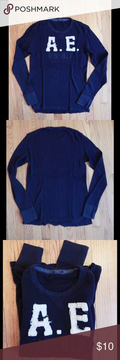 American Eagle Men's Long Sleeve Shirt Sz M This American Eagle Vintage Fit black long sleeve thermal shirt is super soft and in excellent condition. It has barely been worn and is basically new. It is a size medium and has a cool AE logo on the front. It is 100% cotton. American Eagle Outfitters Shirts Tees - Long Sleeve
