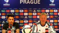 Leonardo Bittencourt of Germany attends a press conference ahead of the UEFA European Under-21 Championship group stage match against Denmark