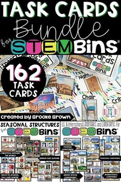 This is a HUGE bundle of 162 additional task cards for STEM Bins®! Students can use a STEM Bin® with a building material of their choice to construct as many seasonal structures as possible.