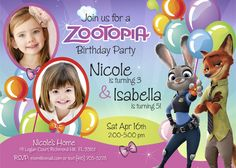 Zootopia Birthday Invitation for Sisters | Customize it with your daughters / siblings along the bunny Judy Hopps and the fox Nick Wilde. #zootopia #zootopiasiblings #zootopiasisters #zootopiainvitations #judyhoops #nickwilde #myheroathome