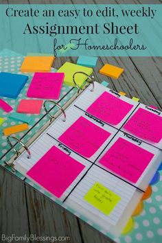 Create an easy to edit weekly assignment sheet for Homeschoolers. What a great idea to place the week's assignments separately for each subject ON the divider for the subject using Post-it®️️️️ Notes!- Big Family Blessings