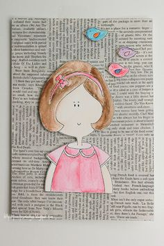 Watercolour-girl and boy...cute for a birthday card, using newspaper, comic, or on stationary.