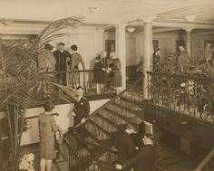 Passengers on the second class stairwell onboard the Aquitania (1914)