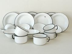 1940s White Enamelware Dish Set on Etsy, $124.99