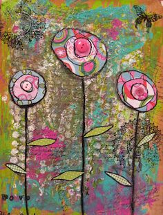 Mixed Media Flowers; great idea for a spring time project.  Maybe connecting to folk art...using materials which are readily available to us.