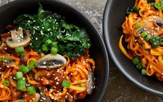 Spicy Korean Red Pepper Noodles [Vegan, Gluten-Free] - One Green PlanetOne Green Planet Veggie Pasta, Veggie Noodles, Healthy Dinner Recipes, Vegetarian Recipes, Cooking Recipes, Vegan Meals, Veggie Recipes, Pasta Dishes, Food Dishes