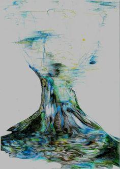 Ülkü Girgin Tree 2009  Color pencıl ,fantastıc paint Watercolor Tattoo, Sculpture, Artwork, Work Of Art, Auguste Rodin Artwork, Sculptures, Artworks, Sculpting, Statue