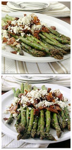 Roasted Asparagus with Bacon and Feta Cheese   www.diethood.com