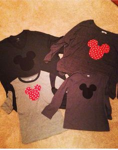 Mickey and Minnie Mouse head silhouettes, used fabric and press and hold paper