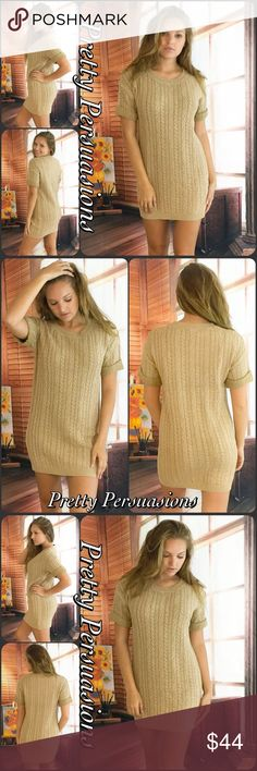 """NWT Beige Cable Knit Sweater Dress NWT Beige Cable Knit Sweater Dress  Available in S, M, L Measurements taken from a small  Length: 31"""" Bust: 34"""" Waist: 34""""  Cotton Blend  Features  • cable knit design • round neckline • short sleeves  • soft breathable material  • relaxed, easy fit  Perfect shift dress for everyday fall wear!   * Also available in charcoal gray  Bundle discounts available  No pp or trades  Item # 1/209170440BSD cable knit shift dress Pretty Persuasions Dresses"""