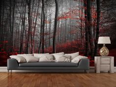 Red Carpet Forest wall mural room setting
