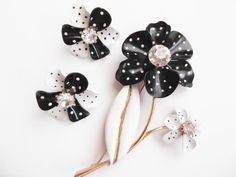 """Beautiful Vintage 60's Polka Dot Brooch, Pin, and Earring Set.  Signed """"AVON"""""""