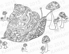 snail and mushrooms adult coloring page gift wall art