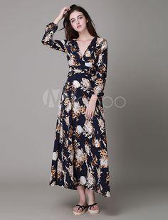 Schwarz gedruckt Boho Brokat-Maxi-Kleid für die Frau - Milanoo.com