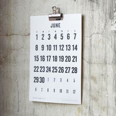 wall calendar featuring big numbers. No fancy illustrations - straightforwardly keeping you up-to-date on all important life's events. printed on 100% post-consumer fiber and no new trees are harmed.• Size 11 x 17• Printed on Natural White Paper