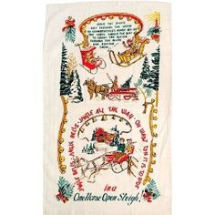Jingle All the Way Vintage Style Christmas Towel  by Moda Home.  Love this for Christmas kitchen cafe curtains.  $7.99 at homealamode.com