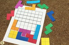 This Tetris printable game will bring back nostalgia for your favorite childhood video game. Print, cut, and try to fit as many pieces in the grid. Printable Games For Kids, Printable Board Games, Printable Puzzles, Printables, Perimeter Games, Area And Perimeter, Math Board Games, Math Games, Kids Travel Activities