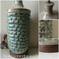 Turquoise Mid century table lamp  textured ceramic  mixed