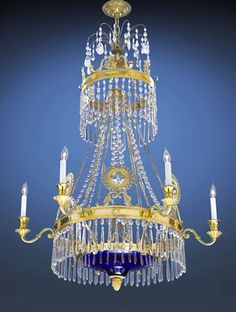 Very rare Russian Chandelier. Circa 1840.   We love grand lighting in small spaces such as a guest bathroom.