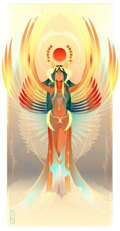 Beautiful Illustrations Of Ancient Egyptian Gods And Goddesses by Yliade: Isis – Goddess Of Magic, Marriage, Healing And Protection Goddess Art, Mythology Art, Character Art, Ancient, Fantasy Art, Egypt Art, Art, Mythology, Egyptian Goddess