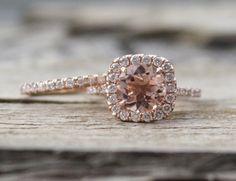 SET  morganita anillos de compromiso de 14K oro rosa por Studio1040, $1720.00