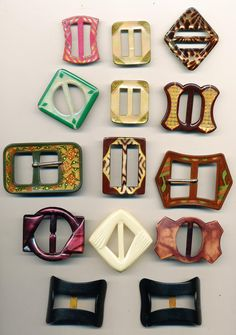 Antique Vintage Celluloid  Buckle Lot of 14 Including a Set of Shoe Buckles   Ca. 1930's by AnnieFrazier on Etsy