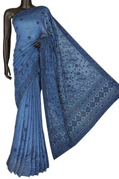 Ada #handembroidered Yale Blue Cotton Lucknow Chikan Saree With Blouse-A128656 include an embroidered blouse, the blouse is worked up with Chikan embroidery and the sleeves include floral motifs. You can connect with us on WhatsApp +91-8795160153 for more info #Ada #Adachikan #chikankari #handcrafted #chikankaristitches #bakhiya #phanda #keelkangan #ghaspatti #cottonsaree #chikankarisaree #chikanwork #chikankaricollection #sareewithblouse #handwork #needlecraft #lucknowiwork #indianfashion