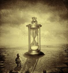 Creds to the stock holders Used stocks: [link] Background [link] Stone Floor [link] Kid [link] Hourglass Teddy: [link] Brush: [link] The rest is my own . As Time Goes By As Time Goes By, The Time Is Now, Double Exposure Photography, Art Photography, Father Time, Halloween Photos, Halloween Art, Mirror Image, Surreal Art