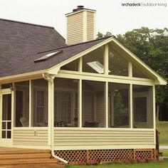 Screen porch with kneewall rails and skylights on a gable roof is an ideal fit with the home's original style. #roofingarchitecture