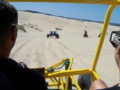 Racing dune buggies in the sand dunes