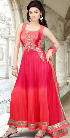 Latest #Anarkali Fashion #Design In #Fuchsia Color | @ $221.18