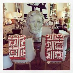 These #throw #blankets, #candle holders and Roman head #statue at #PalmBeach #Mecox #interiordesign #MecoxGardens #furniture #shopping #home #decor #design #room #designidea #vintage #antiques #garden