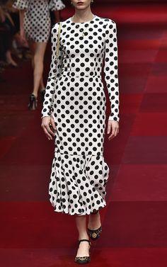 Polka Dot Cady Long Sleeve Dress by Dolce & Gabbana for Preorder on Moda Operandi