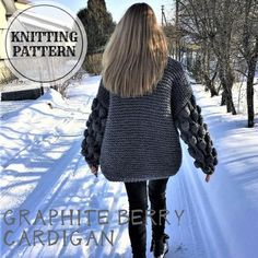 Graphite Berry Cardigan Knitting pattern by Bummbul Knit Cardigan Pattern, Yarn Colors, Digital Pattern, Winter Wardrobe, Graphite, Knitting Patterns, Knitting Ideas, Easy, Knitwear
