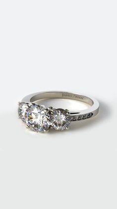 14K White Gold Three Stone Round And Pave Set Diamond Engagement Ring