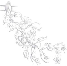 Flower Vine Tattoo Design b+w by ~scandalouscombo on deviantART