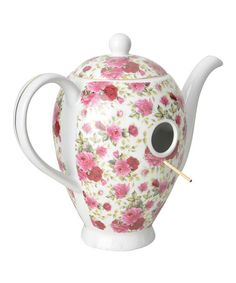Another great find on #zulily! Pink Floral Coffee Pot Birdhouse #zulilyfinds