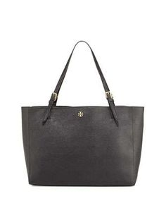 York Saffiano Leather Tote Bag, Black by Tory Burch at Neiman Marcus.