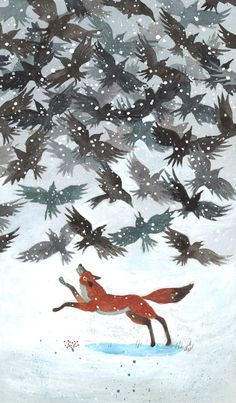 """The birds would be fun to make as a potato stamp. How FUNtastic is this! Love the Surreal Flock of Corvidae and the Vivid Scarlett Fox! """"Red Fox and Black Birds"""" Painting by Chris O'Leary Art And Illustration, Watercolor Illustration, Fox Art, Bird Art, Rabe, Art Graphique, Red Fox, Street Art, Pet Birds"""