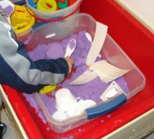 List of items you can put in your sensory table.  Pictured is moon sand. via www.pre-kpages.com