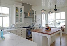 white kitchen- big island