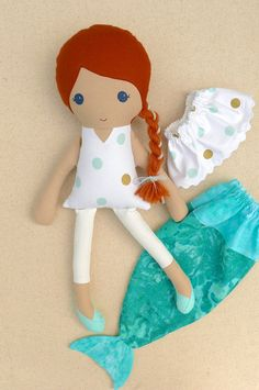 Fabric Doll Rag Doll Red Haired Girl with White Gold and