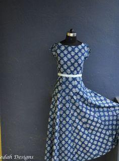Indigo Block print cotton dress boho dress by VedahDesigns on Etsy