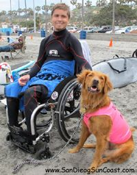 Ricochet-the only known dog in the world who surfs with special needs kids and people with disabilities as an assertive aid.
