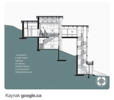 Impressive Steep Hillside Home Plans Awesome Design Ideas House Slope 6 With Bookshelf Nikura. steep hillside house plans with rear view. home plans. Modern Architecture House, Architecture Design, Building Design, Building A House, Building Homes, Houses On Slopes, Modern Villa Design, Hillside House, Architectural Section