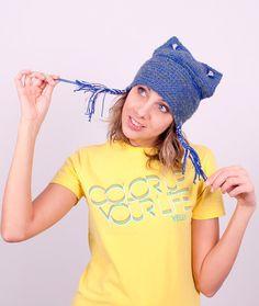 Crochet Smoky blue wool hat, with ears, Warm hats by Gitasknitwear