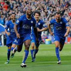 Leicester City's delighted Wes Morgan after his headed goal.