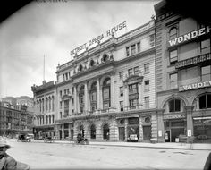 The Detroit Opera House circa 1904, starring an electric runabout out front. 8x10 inch dry plate glass negative, Detroit Publishing Company.