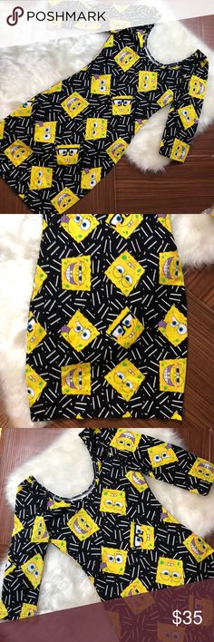 "SPONGEBOB SQUAREPANTS Bodycon Skater Mini Dress Brand new without tags.  Officially licensed Nickelodeon product.  Skater style bodycon dress featuring Spongebob Squarepants.  Materials:  cotton spandex RN: 71868  Measurements (approx and taken while item is laying flat):  Armpit to armpit 13""  Length (shoulder to hem) 31""   No trades We are a smoke and pet-free home.  A8 Nickelodeon Dresses Mini"