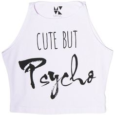 Cute But Psycho Sleeveless Crop Top ❤ liked on Polyvore featuring tops, shirts, crop top, no sleeve shirts, shirts & tops, sleeve less shirts and pink top